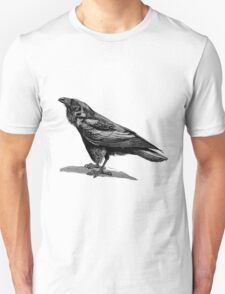 Vintage Raven Bird Illustration Retro 1800s Black and White Ravens Birds Image T-Shirt