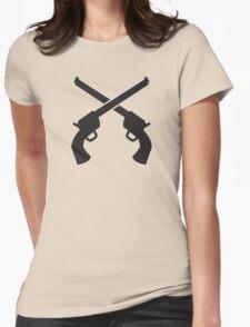 Gunslinger Guns crossed Womens Fitted T-Shirt