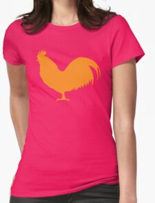 Rooster cock cockerel in orange Womens Fitted T-Shirt
