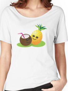 TROPICAL fruits Coconut and PINEAPPLE super cute KAWAII Women's Relaxed Fit T-Shirt