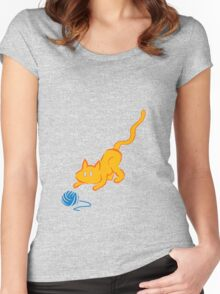 cat plays yarn Women's Fitted Scoop T-Shirt
