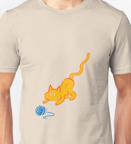 cat plays yarn Unisex T-Shirt