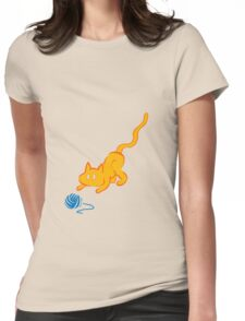 cat plays yarn Womens Fitted T-Shirt
