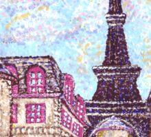 Paris Eiffel Tower inspired pointillism landscape by Kristie Hubler Sticker
