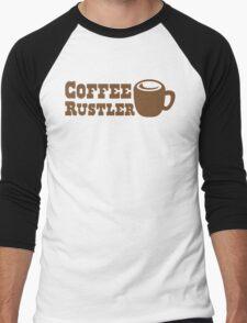 Coffee Rustler with cute mug coffee bean Men's Baseball ¾ T-Shirt