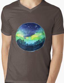Watercolor Aurora Borealis Mens V-Neck T-Shirt