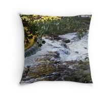 Streaming Gold and Rushing Foam Throw Pillow