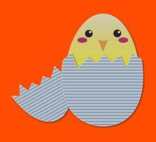 Super cute chicken in a broken egg Kids Tee
