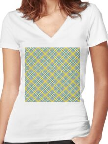 Dean's Yellow, White and Blue Plaid on Gray Women's Fitted V-Neck T-Shirt