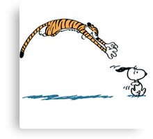 Hobbes And Snoopy Canvas Print
