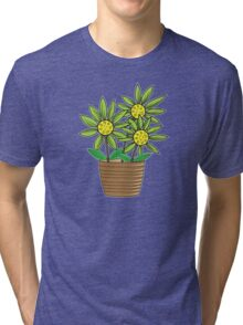 Potted Sunflowers Tri-blend T-Shirt