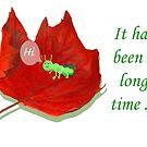 Hi, Green Grub and Autumn Leaf. by Mary Taylor