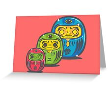 ZOMBIE MATRYOSHKA DARUMAS Greeting Card