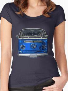 Volkswagen Blue combi cutout  Women's Fitted Scoop T-Shirt