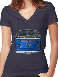 Volkswagen Blue combi cutout  Women's Fitted V-Neck T-Shirt