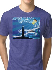 Lighthouse and Boat in the Sea 2 Tri-blend T-Shirt