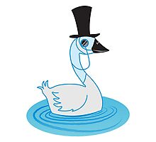 Fancy Schmancy Upper class Swan with a top hat and monocle Photographic Print