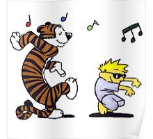 Calvin and Hobbes Dancing Poster