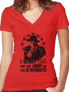 12 Monkeys: Pallid Man Wants You Women's Fitted V-Neck T-Shirt