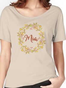 Mia lovely name and floral bouquet wreath Women's Relaxed Fit T-Shirt