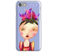 Girl In Bird Hat, Pencil drawing, Race Day. iPhone Case/Skin