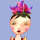 Girl In Bird Hat, Pencil drawing, Race Day. by Mary Taylor