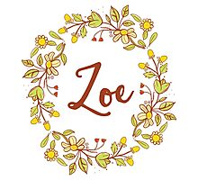 Zoe lovely name and floral bouquet wreath Photographic Print