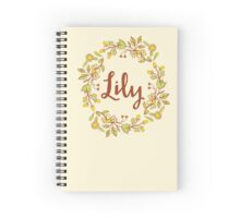 Lily lovely name and floral bouquet wreath Spiral Notebook