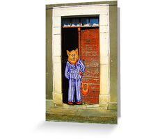 Cat In Pyjamas in Doorway. Humor. Greeting Card