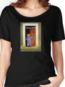Cat In Pyjamas in Doorway. Humor. Women's Relaxed Fit T-Shirt
