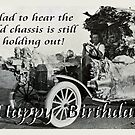 Vintage chassis, with Kangaroo skins, Happy Birthday, Humor. by Mary Taylor