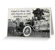 Vintage chassis, with Kangaroo skins, Happy Birthday, Humor. Greeting Card