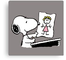 snoopy drawing love Canvas Print