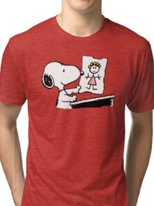 snoopy drawing love Tri-blend T-Shirt