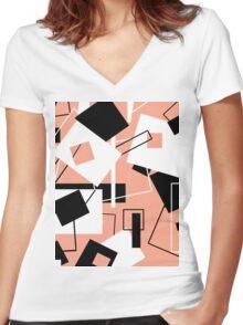 Black White & Peach 60's Style Variation Women's Fitted V-Neck T-Shirt