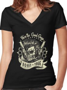 Rockabilly Born in 1966 Women's Fitted V-Neck T-Shirt