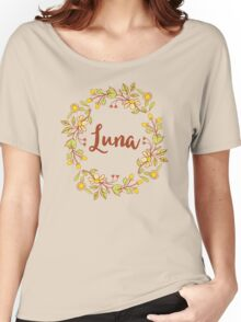 Luna lovely name and floral bouquet wreath Women's Relaxed Fit T-Shirt