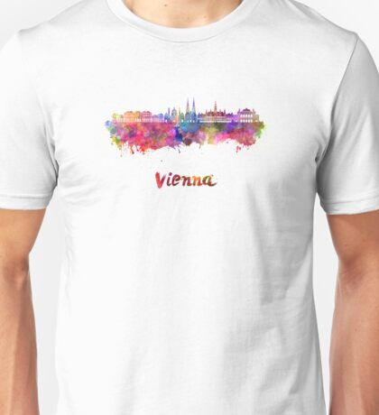 Vienna V2 skyline in watercolor background Unisex T-Shirt