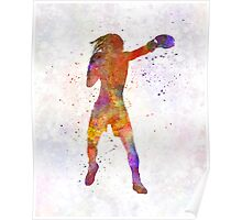 Woman boxer boxing kickboxing silhouette isolated 03 Poster