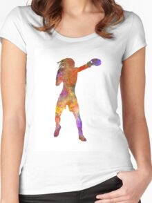 Woman boxer boxing kickboxing silhouette isolated 03 Women's Fitted Scoop T-Shirt
