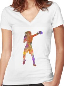 Woman boxer boxing kickboxing silhouette isolated 03 Women's Fitted V-Neck T-Shirt