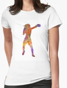 Woman boxer boxing kickboxing silhouette isolated 03 Womens Fitted T-Shirt