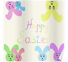 Happy Easter Easter bunnies,vector illustration Poster