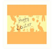 Easter Bunny with a basket on the background Art Print