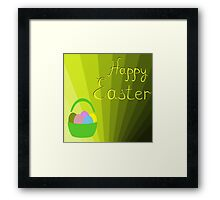 holiday Easter basket with eggs on the background Framed Print
