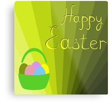 holiday Easter basket with eggs on the background Metal Print