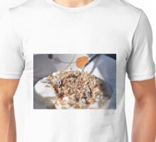 A bowl of cereals with yogurt. Unisex T-Shirt