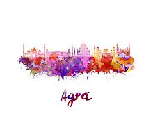 Agra skyline in watercolor Photographic Print
