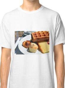 Plate with pastry sweets: cakes, waffle. Classic T-Shirt