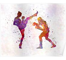 Woman boxwe boxing man kickboxing silhouette isolated 01 Poster